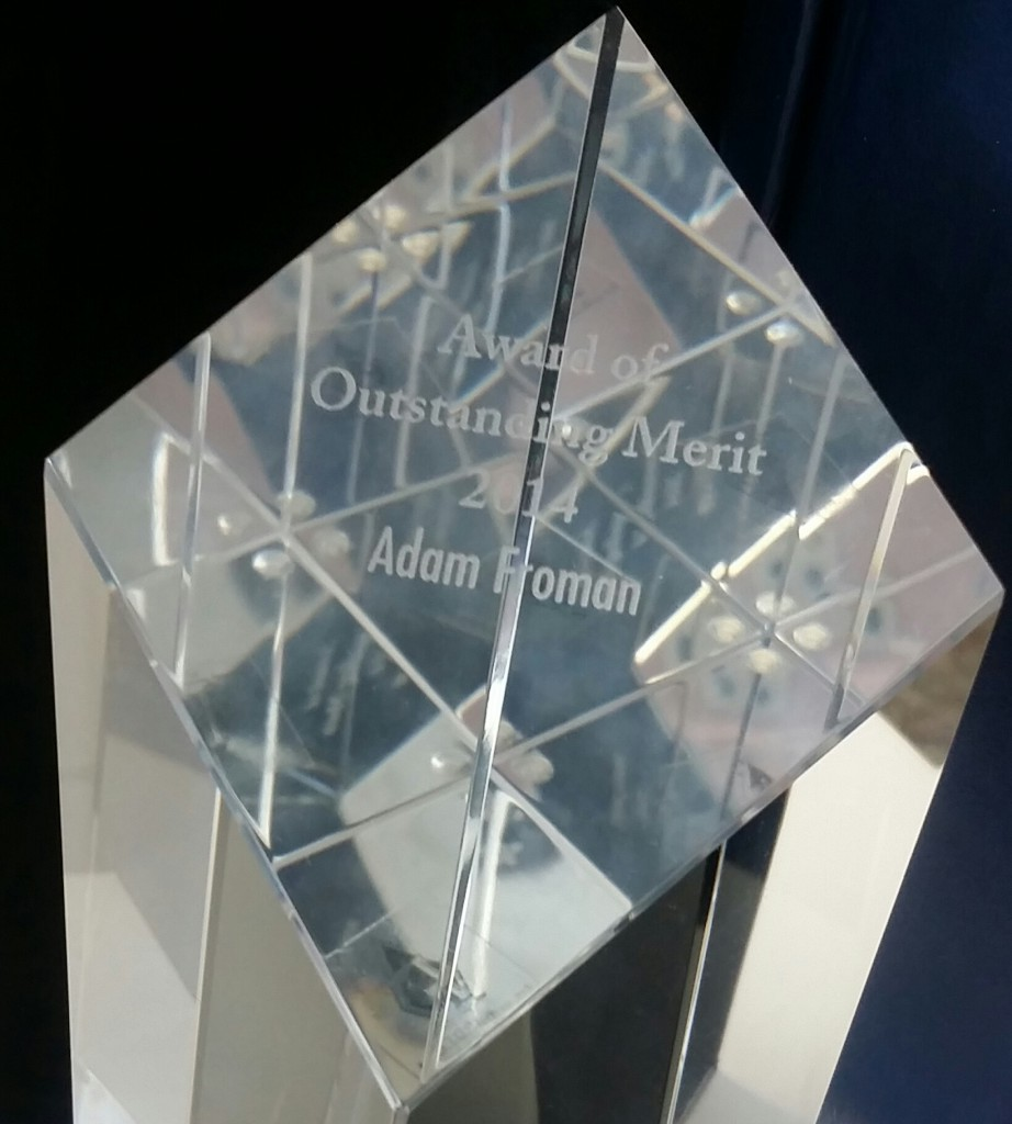 Adam Froman wins MRIA Award of Outstanding Merit